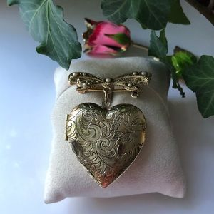 Heart Locket Bow Seed Pearl Brooch Pin